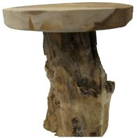 Solid Wood Teak Stool 31cm Tall 25cm Diameter Rustique Handmade