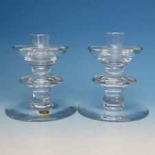 Val St Lambert Crystal - Pair of Candlesticks - 5 inches
