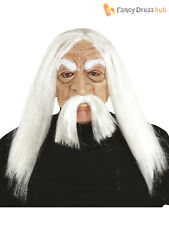 Old Man Mask With White Hair  Beard Wig Halloween Fancy Dress Costume Accessory