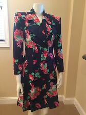 Vintage Christian Lacroix Print Silk Coat Dress Couture Italy Size US 6