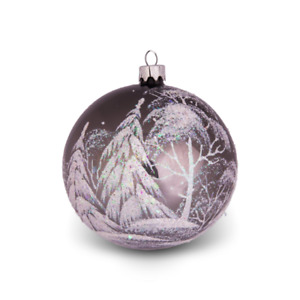 """Hand painted glass bauble - Grove - 3.5"""" red blown glass ball - Christmas tree o"""