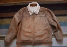 BHS Men Brown Sherpa Faux Suede Bomber Jacket Coat Harrington Fleecelined Size L