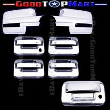 For Ford F150 2009-2014 Chrome Covers Set Full Mirrors SIGNAL+4 Doors+Tailgate K