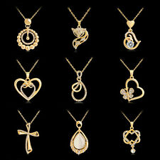 Women Fashion Gold Crystal Fox Heart Water Drop Chain Pendant Necklace Jewelry