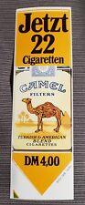 Camel Filters Aufkleber 80er Jahre jetzt 22 Zigaretten 4,- DM Bestzustand