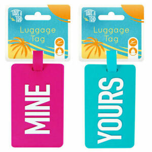 Luggage Tags Mine Yours Colourful Bright Holiday Bag Identifiers Suitcase Labels