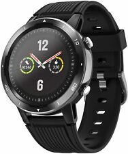 Reloj inteligente con GPS Monitor de ritmo cardíaco 5ATM Impermeable para Deporte Natacion Negro