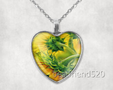 Glass Heart Pendant Heart Necklace#D570 Sunflower Photo Tibet Silver Cabochon