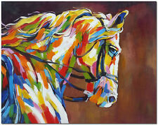 Hand Painted Horse Oil Painting On Canvas - Colorful Impressionist Animal Art