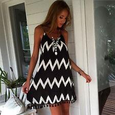 Damen Sommer Bikini Vertuschung Badekleid BOHO Strandkleid Partykleid Sundress