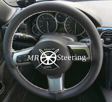FOR MAZDA MX5 MK3 BLACK PERFORATED LEATHER STEERING WHEEL COVER WHITE STITCH NEW