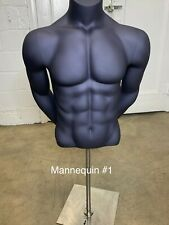 Male Torso Mannequin with Stand  Matte Blue Nice Figure
