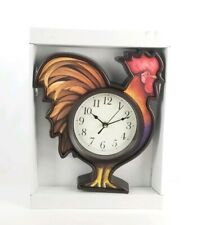 Rooster Wall Clock (Brown Frame) - Hanging Decor New