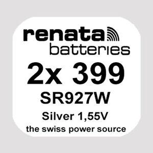 2x Renata 399 Uhren-Batterie Knopfzelle SR927W AG7 Silberoxid Blisterware Neu