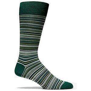 MSRP $30 3 Pack Cole Haan Men's Stripe Crew Socks Pine Grove Green Size 7-12