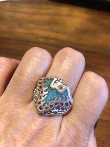 Vintage Silver Finish Men's Southwestern Eagle Turquoise Gemstone Inlay Ring