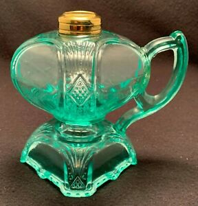 RARE Janice Footed Finger Lamp, c. 1880's - APPLE GREEN