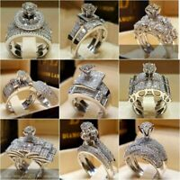2pcs/set Chic Women White Sapphire 925 Silver Ring Wedding Bridal Jewelry Sz5-12