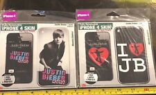 Justin Bieber iPhone 4 Skin Peel Apply Protect Rare Set x2 Claires RRP £20