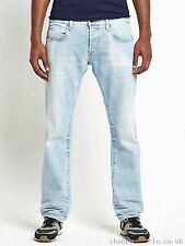 G Star Raw 3301 Slim Straight Leg Jeans 34 x 32 Light Aged Denim 5 Pockets NWT