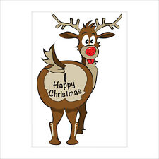 Christmas Car Window Sticker   Funny Rude Reindeer Window Sticker