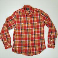 Vintage J Crew Sporting Goods Mens Red Plaid Flannel Shirt Sz Sm Lumberjack