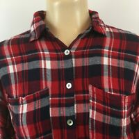 Charlotte Russe Womens Tops Long Sleeve Button Up Flannel Shirt Plaid Red Size S