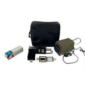 Vintage Minolta Mini 35 Slide Projector w/ Case Autochanger & Extra Bulb Tested