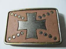 Vintage Belt Buckle Maltese Malta Templar Knights Iron Cross Leather background