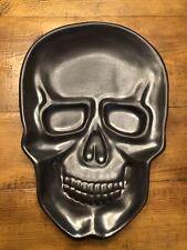 Threshold Stoneware Skull Serving Platter Halloween Goth Horror Dead Gunmetal
