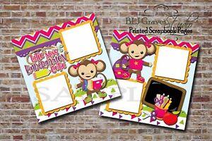 Kindergarten School Girl Monkey 2 PRINTED Premade Scrapbook Pages BLJgraves 30