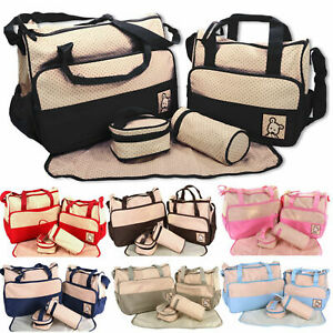 Large Multi-function 5pcs Baby Nappy Diaper Mummy Hospital Changing Bag Handbag