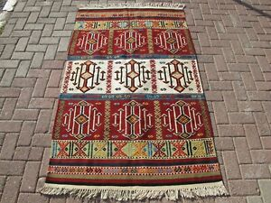 Vintage Handwoven Tribal Wool Kilim,Traditional Oriental Turkish Red Accent Rug
