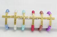 Wholesale lots 20ps Cross Glass Pearl Rhinestone Gold Tone Stretch Bracelets
