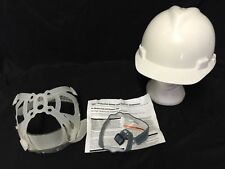 MSA V-GARD HARD HAT CONSTRUCTION HELMET w/ SUSPENSION & CHIN STRAP WHITE NOS 03