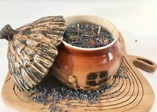 Lavender Scented Soy Candle in Round Ceramic Cottage with Dried Herbs Gemstones