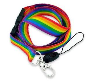 Rainbow Gay Pride Lanyard Key Chain Neck Strap ID Holder Detachable Clasp New