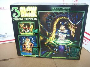 3 in 1 Glow in the Dark Jigsaw Puzzles-Spell Bound  Dragon Spell and Blue Dragon