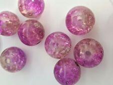 50 X Purple & Brown Crackle Glass Beads / K2024 - 10mm