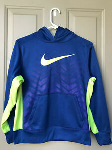 Kids NIKE Therma-fit Blue & Neon Yellow Logo Pull over Hoodie Size L Large