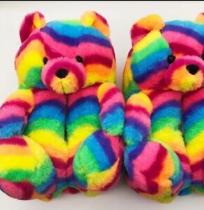 Teddy Bear women plush slippers Cartoon Cute Bear House Slipper Furry Fur Slides