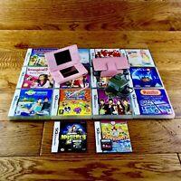 Nintendo DS Lite Bundle Pink Console & Case 14 Great Games Official Charger VGC