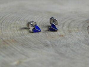 Sterling Silver & Blue Enamel HEART Petite Stud Earrings