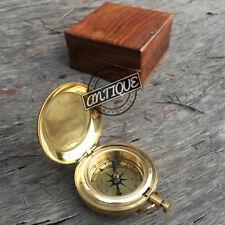 Valentine Mini Pocket Compass W Wooden Box Handmade Magnetic Working Travel Gift