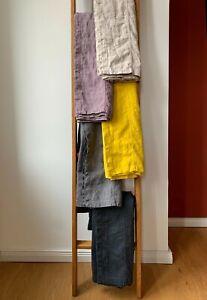 "Bettüberwurf Tagesdecke ""Rasa"" 100% Leinen ""Stonewashed"" 170x260 cm, Lila-grau"