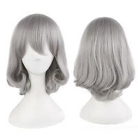 Gray Silver Short Wig Fashion Bob Straight Hair Cosplay Harajuku Style Full Wig