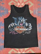 Vtg 92 Harley Davidson M Tank Top Worn Faded Chain Power Black Cat F&S DYT OH