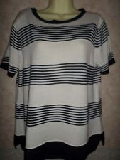 MARKS AND SPENCER NAVY AND WHITE STRIPED ACRYLIC SHORT SLEEVED JUMPER SIZE 14