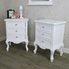 Elise white Range 3 Drawer Bedside Chest French Bedroom Crystal Knob Handle