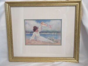 Signed R. Tolan Framed Print BY THE BAY Victorian Lady Double Matted Gold Frame